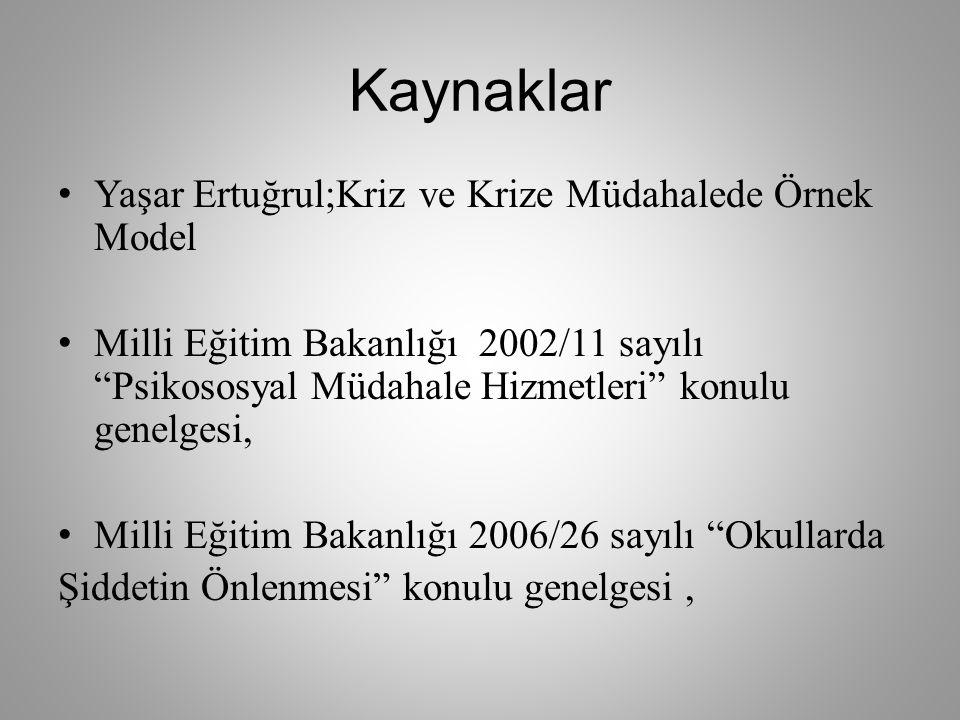 """Kaynaklar Yaşar Ertuğrul;Kriz ve Krize Müdahalede Örnek Model Milli Eğitim Bakanlığı 2002/11 sayılı """"Psikososyal Müdahale Hizmetleri"""" konulu genelgesi"""