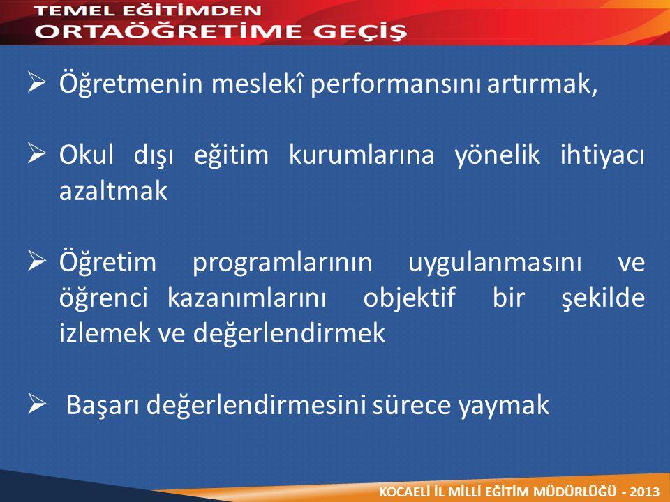 KOCAELİ İL MİLLİ EĞİTİM MÜDÜRLÜĞÜ - 2013  Öğretmenin meslekî performansını artırmak,  Okul dışı eğitim kurumlarına yönelik ihtiyacı azaltmak  Öğret