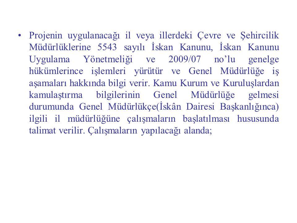Projenin uygulanacağı il veya illerdeki Çevre ve Şehircilik Müdürlüklerine 5543 sayılı İskan Kanunu, İskan Kanunu Uygulama Yönetmeliği ve 2009/07 no'l