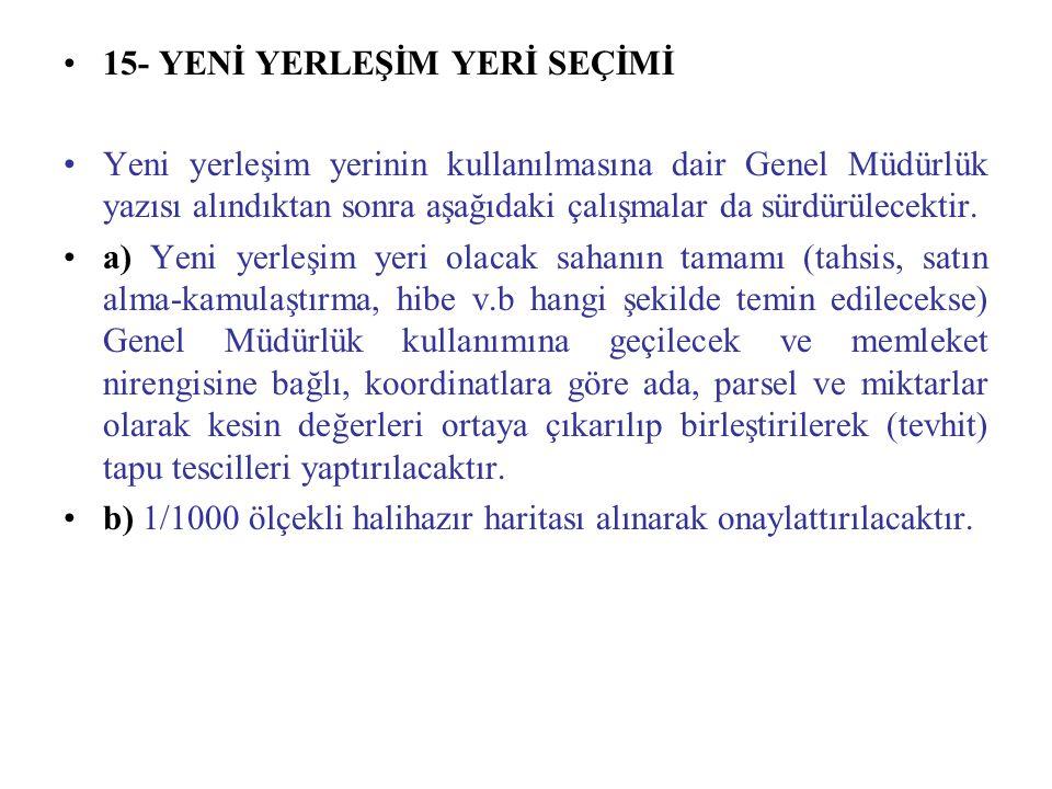 15- YENİ YERLEŞİM YERİ SEÇİMİ Yeni yerleşim yerinin kullanılmasına dair Genel Müdürlük yazısı alındıktan sonra aşağıdaki çalışmalar da sürdürülecektir