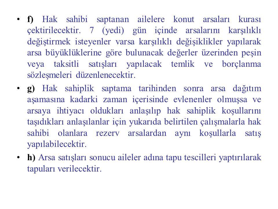 f) Hak sahibi saptanan ailelere konut arsaları kurası çektirilecektir. 7 (yedi) gün içinde arsalarını karşılıklı değiştirmek isteyenler varsa karşılık
