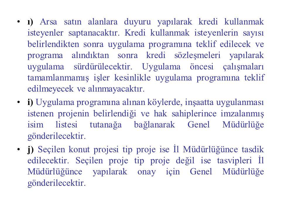 ı) Arsa satın alanlara duyuru yapılarak kredi kullanmak isteyenler saptanacaktır.