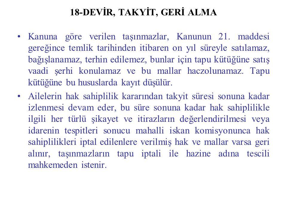 18-DEVİR, TAKYİT, GERİ ALMA Kanuna göre verilen taşınmazlar, Kanunun 21.