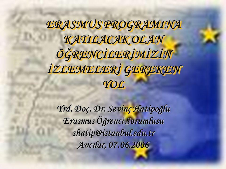 ERASMUS PROGRAMINA KATILACAK OLAN ÖĞRENCİLERİMİZİN İZLEMELERİ GEREKEN YOL Yrd.