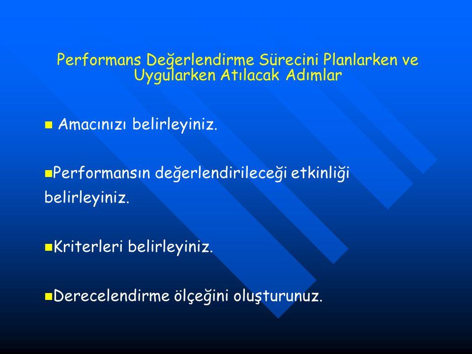 Performans Değerlendirme Sürecini Planlarken ve Uygularken Atılacak Adımlar Amacınızı belirleyiniz.