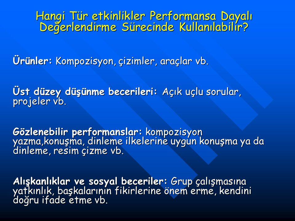 Hangi Tür etkinlikler Performansa Dayalı Değerlendirme Sürecinde Kullanılabilir.