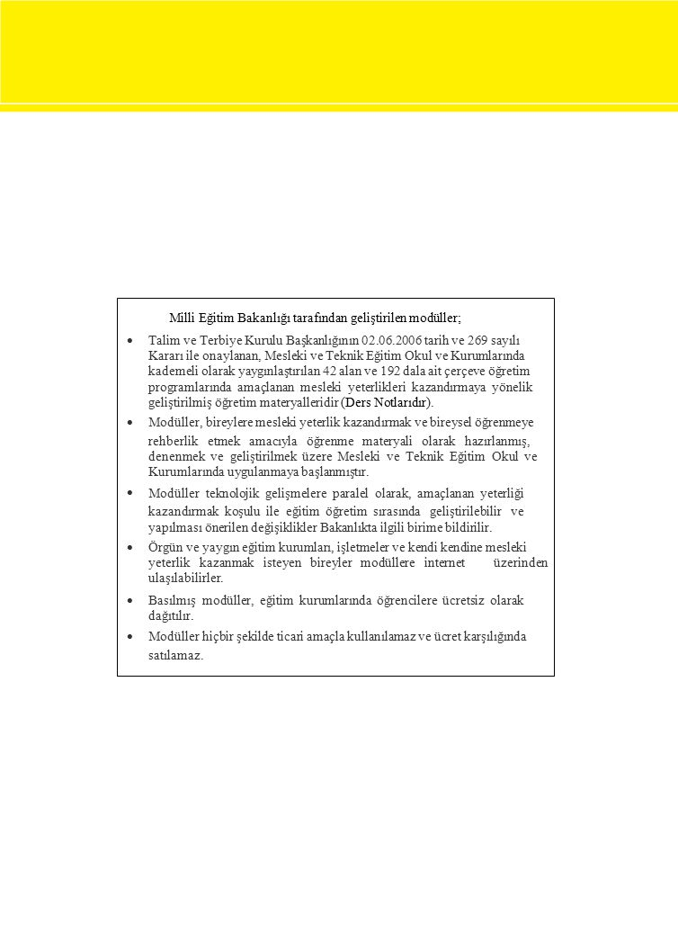 Milli Eğitim Bakanlığı tarafından geliştirilen modüller;  Talim ve Terbiye Kurulu Başkanlığının 02.06.2006 tarih ve 269 sayılı Kararı ile onay