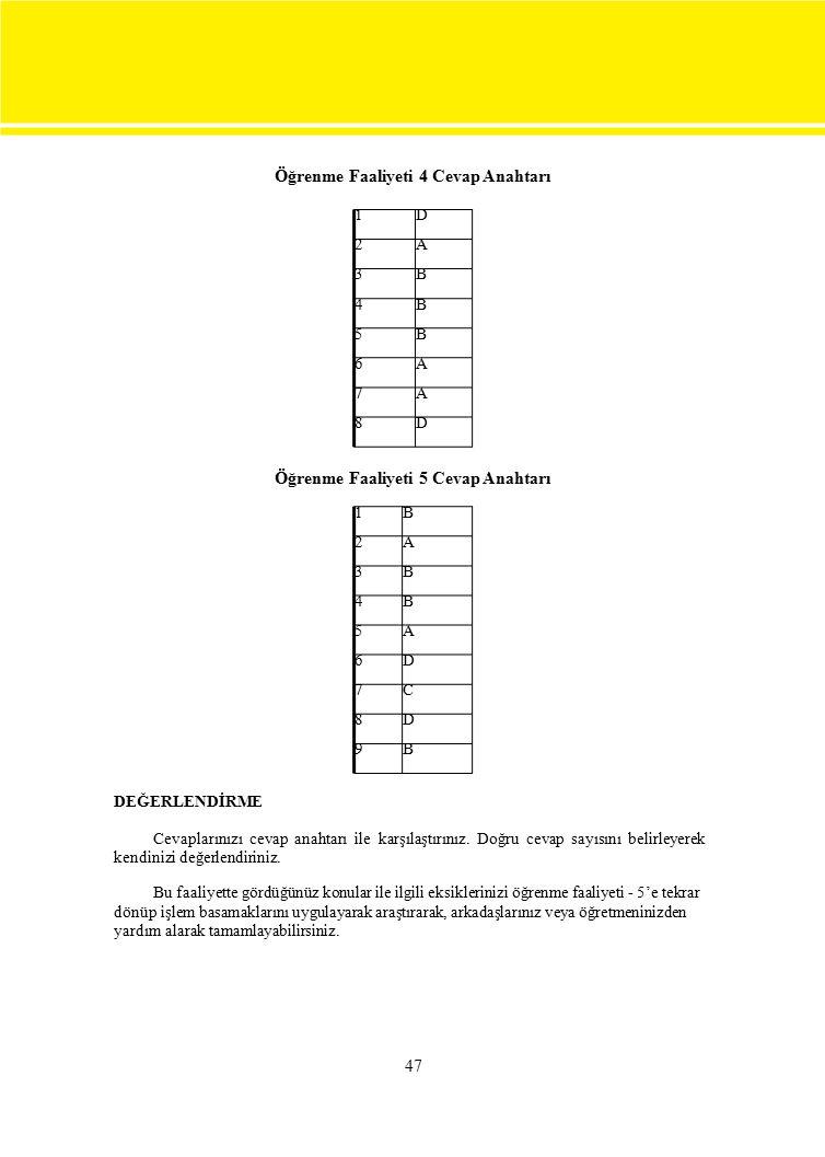 1B 2A 3B 4B 5A 6D 7C 8D 9B 1D 2A 3B 4B 5B 6A 7A 8D 47 Öğrenme Faaliyeti 4 Cevap Anahtarı Öğrenme Faaliyeti 5 Cevap Anahtarı DEĞERLENDİRME Cevaplarınız