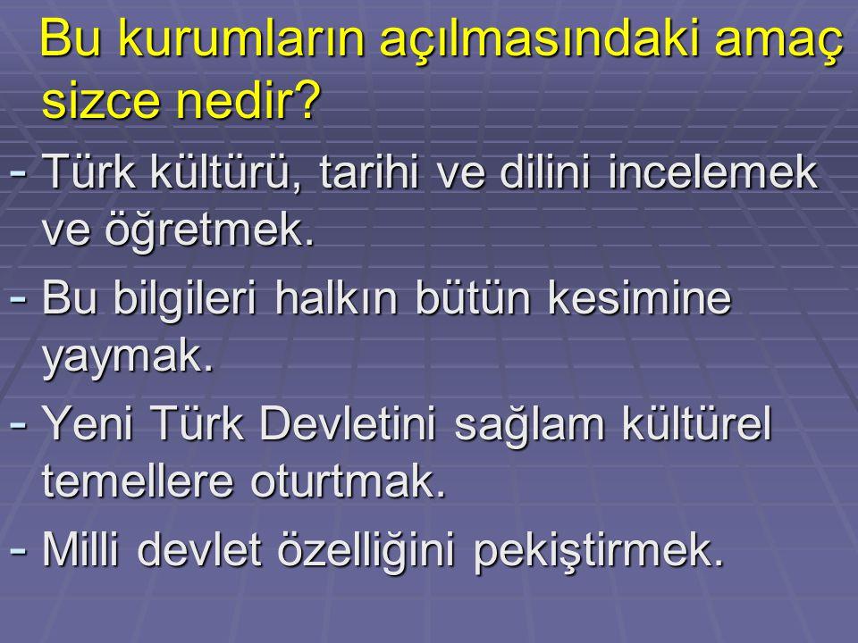 Bu kurumların açılmasındaki amaç sizce nedir? Bu kurumların açılmasındaki amaç sizce nedir? - Türk kültürü, tarihi ve dilini incelemek ve öğretmek. -