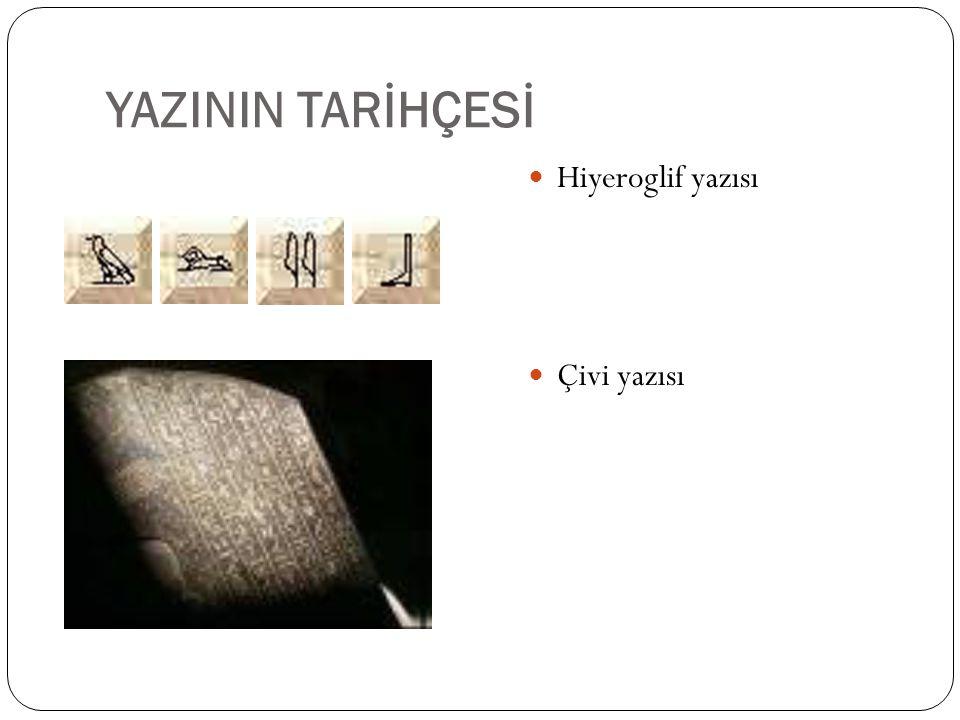 YAZININ TARİHÇESİ Yazının icadı, insanlık tarihinin en önemli dönemeci ve ilk bilgi devrimidir.