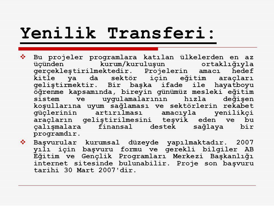 Yenilik Transferi:  Bu projeler programlara katılan ülkelerden en az üçünden kurum/kuruluşun ortaklığıyla gerçekleştirilmektedir.