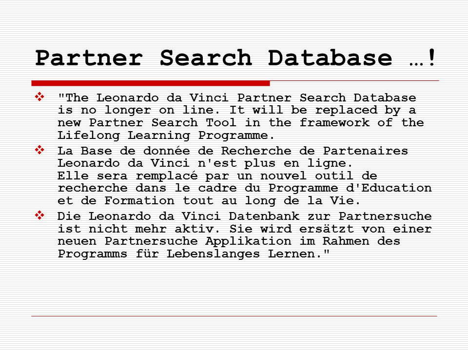 Partner Search Database …! 