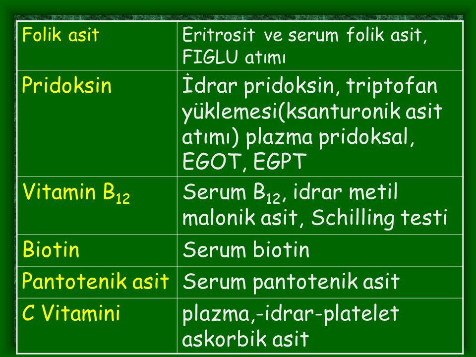 Folik asitEritrosit ve serum folik asit, FIGLU atımı Pridoksinİdrar pridoksin, triptofan yüklemesi(ksanturonik asit atımı) plazma pridoksal, EGOT, EGP