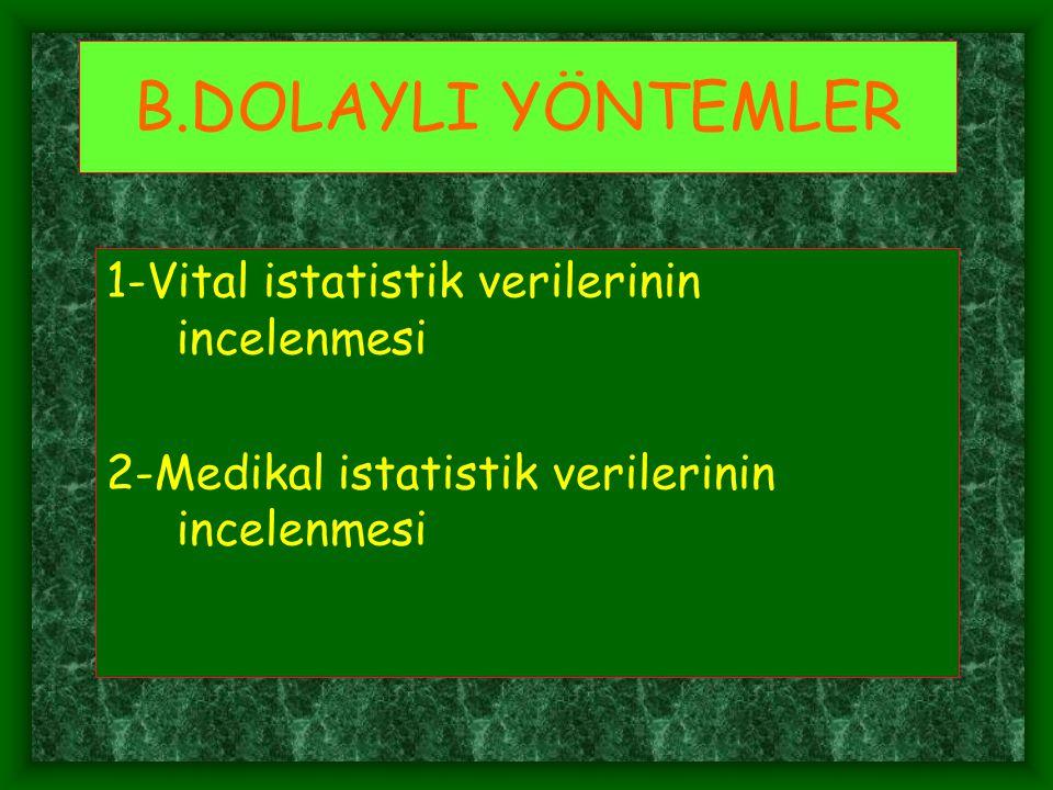 B.DOLAYLI YÖNTEMLER 1-Vital istatistik verilerinin incelenmesi 2-Medikal istatistik verilerinin incelenmesi