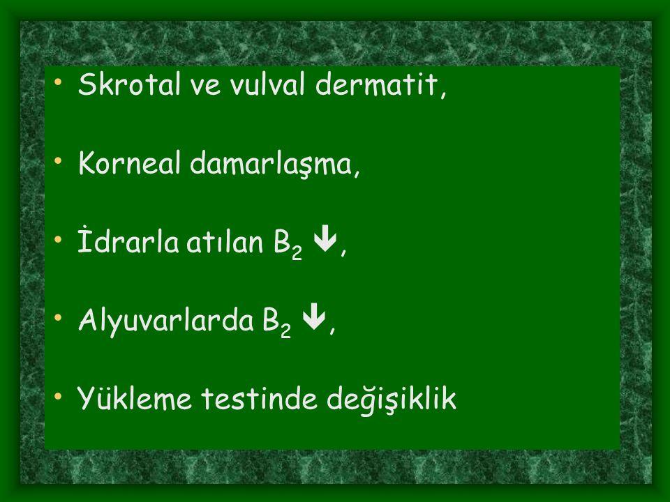 Skrotal ve vulval dermatit, Korneal damarlaşma, İdrarla atılan B 2 , Alyuvarlarda B 2 , Yükleme testinde değişiklik