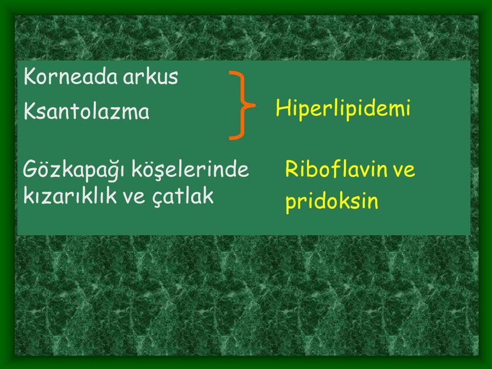 Korneada arkus Hiperlipidemi Ksantolazma Gözkapağı köşelerinde kızarıklık ve çatlak Riboflavin ve pridoksin