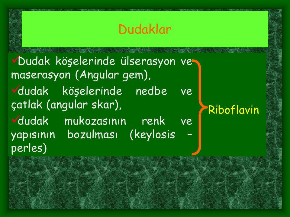 IX- Demir Yetersizliği Anemisi: Konjuktiva solukluğu, Koilonychia Dil papilla atrofileri, Dudak lezyonları, Hb  ; Gebe  <11 g, E  <13 g, K  <12 g, Hct , Alyuvar şekil-cüsse bozukluğu - hipokromik, mikrositer, Serum Fe düzeyinde azalma, Serum transferin satürasyonu yüzdesinde değişiklik,