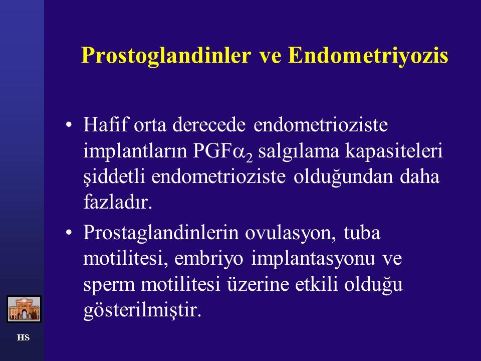 HS Prostoglandinler ve Endometriyozis Hafif orta derecede endometrioziste implantların PGF  2 salgılama kapasiteleri şiddetli endometrioziste olduğun