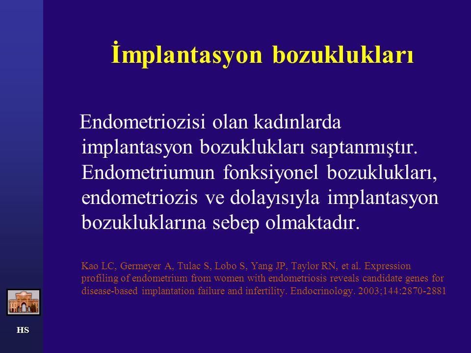 HS İmplantasyon bozuklukları Endometriozisi olan kadınlarda implantasyon bozuklukları saptanmıştır. Endometriumun fonksiyonel bozuklukları, endometrio