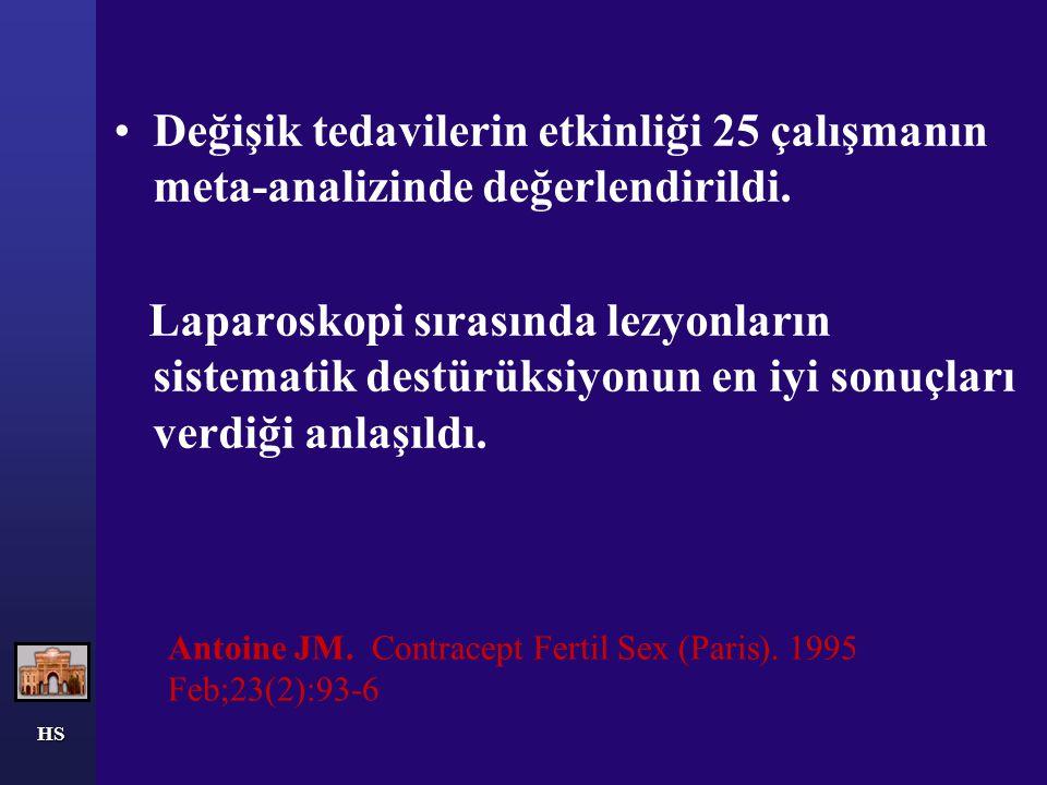 HS Antoine JM. Contracept Fertil Sex (Paris). 1995 Feb;23(2):93-6 Değişik tedavilerin etkinliği 25 çalışmanın meta-analizinde değerlendirildi. Laparos