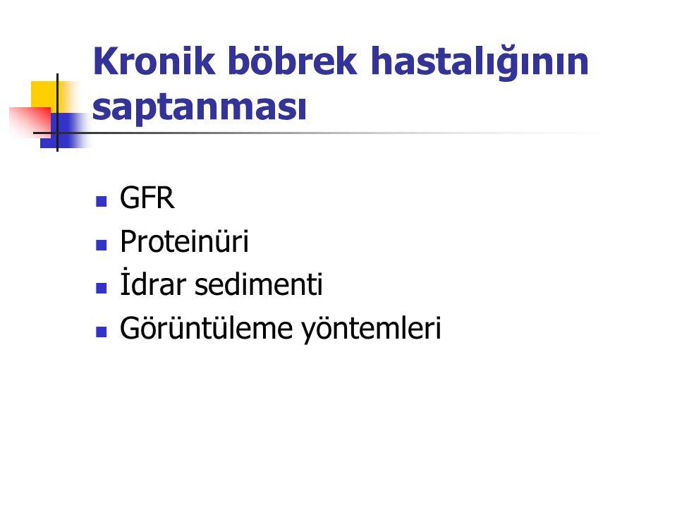 KBH-laboratuvar inceleme Tüm hastalar Serum kreatinin (GFR saptanması için) Spot idrarda protein/kreatinin ya da albümin/kreatinin oranı İdrar sedimenti Renal ultrasonografi Serum elektrolitleri