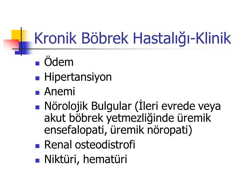 KBH-tedavi yaklaşımı-1 Tanıya spesifik tedavi Komorbid durumların tedavisi Progresyonu azaltmaya yönelik tedavi Kardiyovasküler hastalığın tedavisi Azalmış böbrek fonksiyonuna bağlı komplikasyonların tedavisi Renal replasman tedavisine hazırlık Diyaliz ve transplantasyon