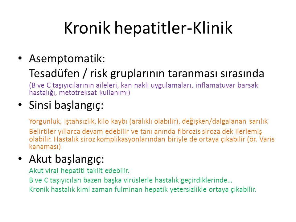 Kronik hepatitler-Klinik Asemptomatik: Tesadüfen / risk gruplarının taranması sırasında (B ve C taşıyıcılarının aileleri, kan nakli uygulamaları, infl