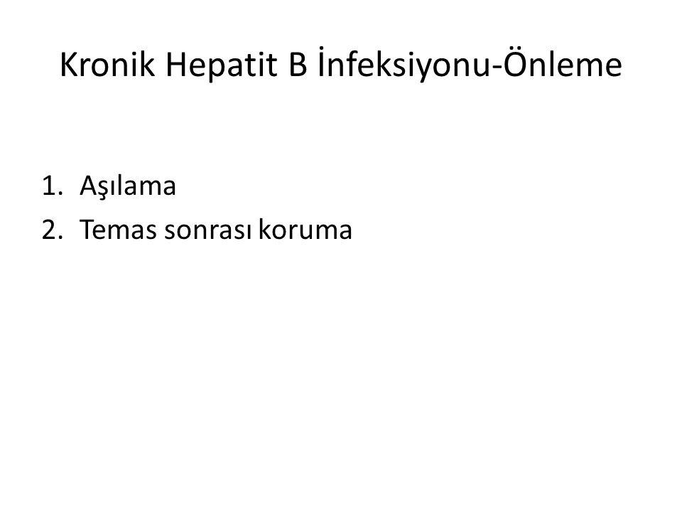 Kronik Hepatit B İnfeksiyonu-Önleme 1.Aşılama 2.Temas sonrası koruma