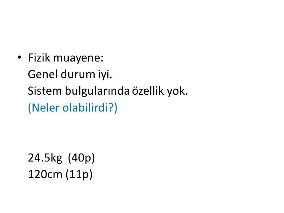 Fizik muayene: Genel durum iyi. Sistem bulgularında özellik yok. (Neler olabilirdi?) 24.5kg (40p) 120cm (11p)