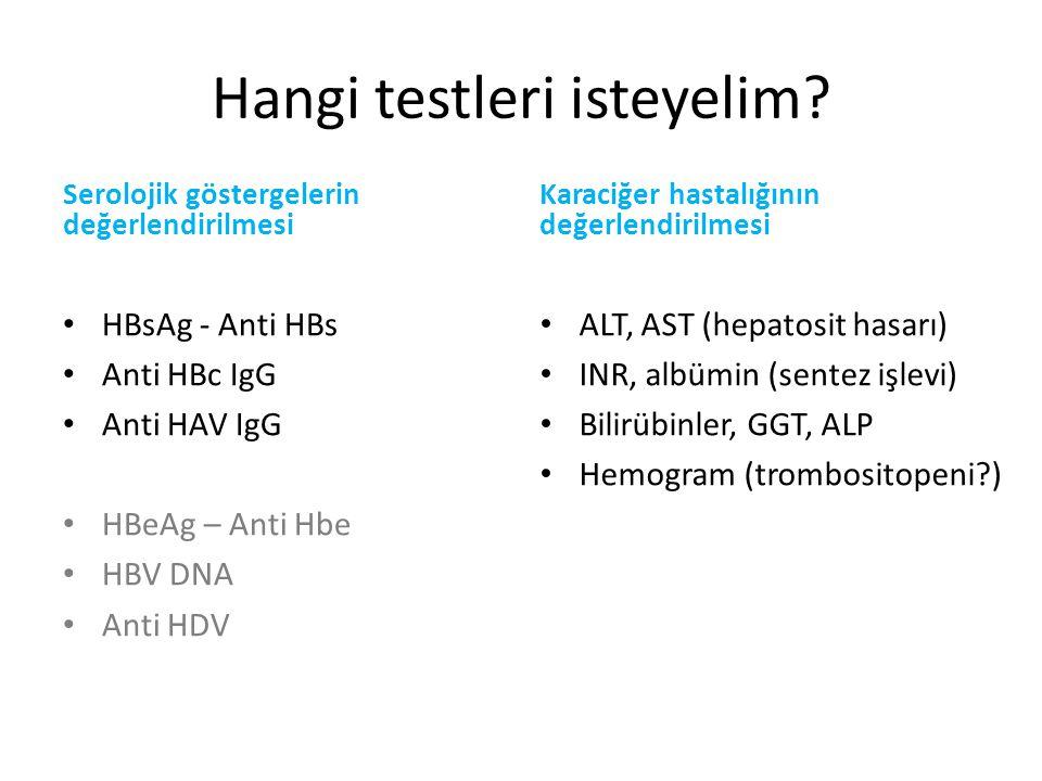Laboratuvar-Seroloji HBsAg: pozitif AntiHBs: negatif HBeAg: pozitif AntiHBe:negatif HBV DNA: 561000000 IU/ml Antidelta total:negatif Anti HAV IgG:negatif > pozitif (aşılama ile)