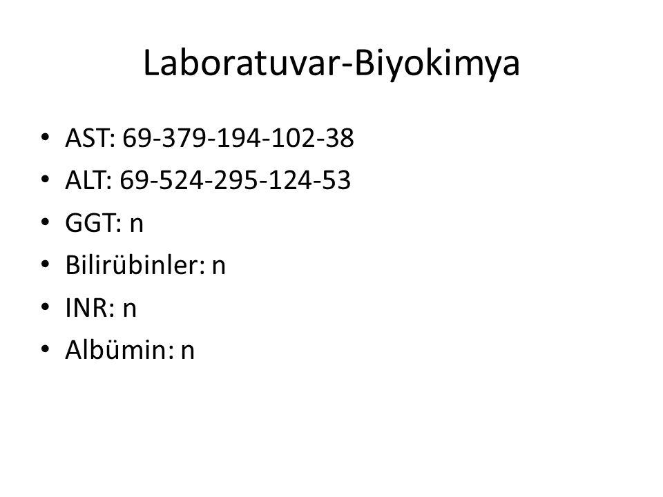 Laboratuvar-Biyokimya AST: 69-379-194-102-38 ALT: 69-524-295-124-53 GGT: n Bilirübinler: n INR: n Albümin: n