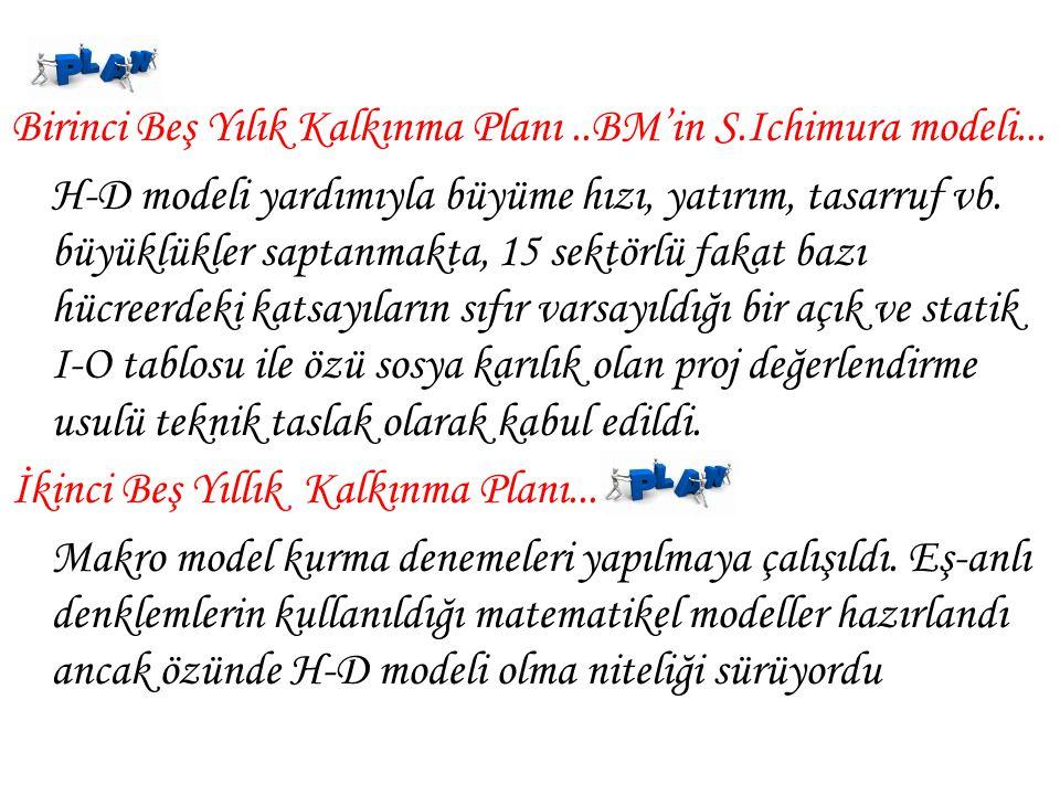 Birinci Beş Yılık Kalkınma Planı..BM'in S.Ichimura modeli...