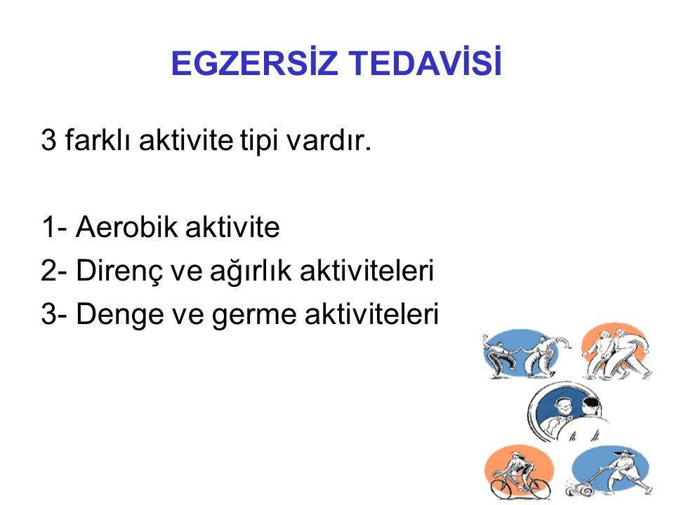EGZERSİZ TEDAVİSİ 3 farklı aktivite tipi vardır. 1- Aerobik aktivite 2- Direnç ve ağırlık aktiviteleri 3- Denge ve germe aktiviteleri