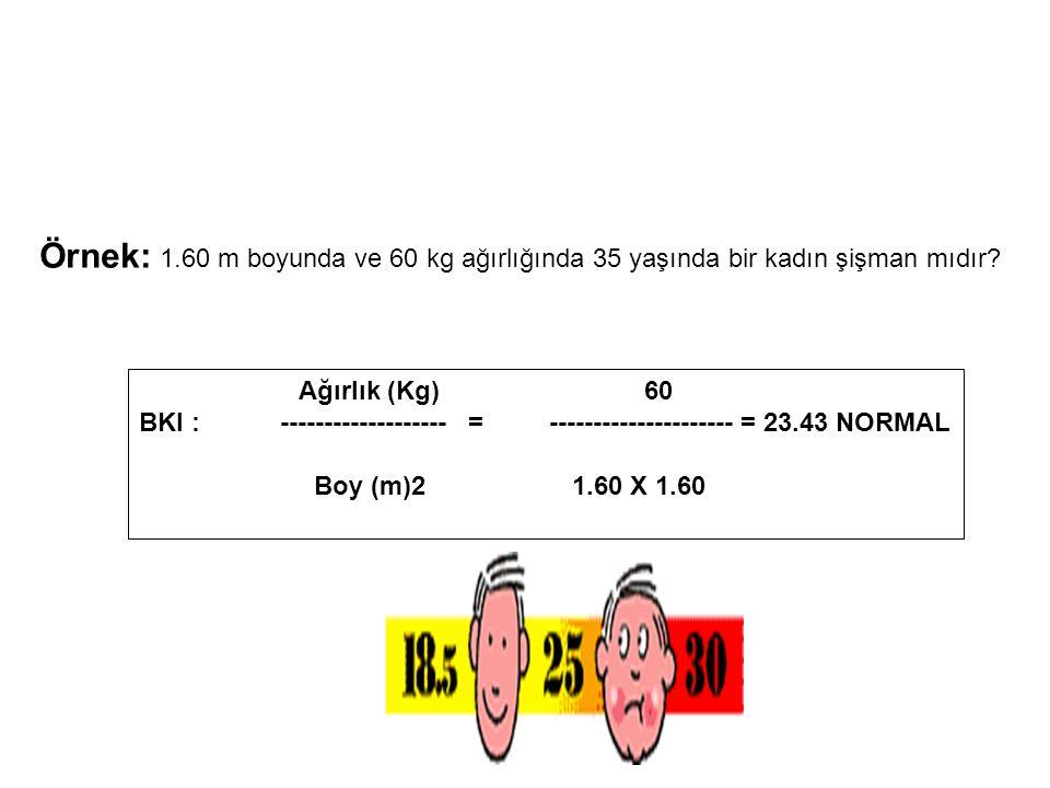 Örnek: 1.60 m boyunda ve 60 kg ağırlığında 35 yaşında bir kadın şişman mıdır? Ağırlık (Kg) 60 BKI : ------------------- = --------------------- = 23.4