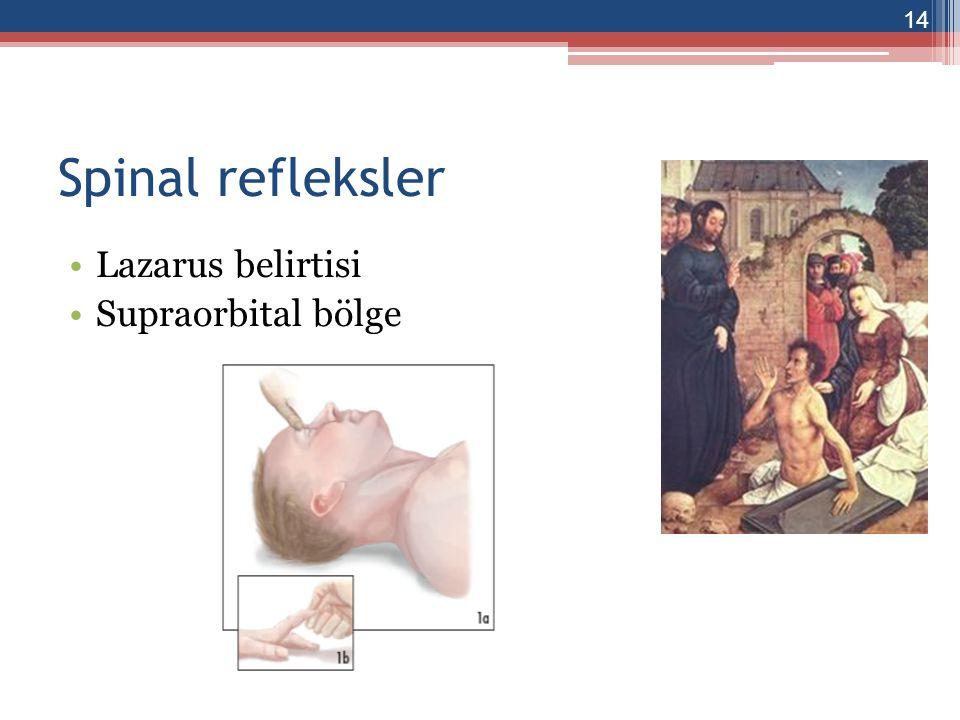Nörolojik muayene Beyin sapı reflekslerinin tamamen kaybolması, ▫Beyin ölümünde pupiller parlak ısıga yanıtsız ve dilatedir (4-6 mm) ▫Kornea refleksi yoklugu ▫Vestibulo-oküler refleks yoklugu ▫Okülosefalik refleks yoklugu ▫Feringeal ve trakeal reflekslerin yoklugu 15