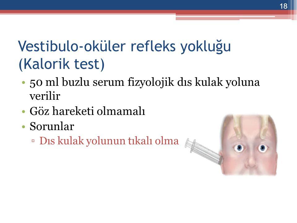 Okülosefalik refleks yokluğu Bas hareketine ragmen gözler orta hatta sabit Sorunlar ▫Degerlendirilmesi zor ▫Boyun travması 19