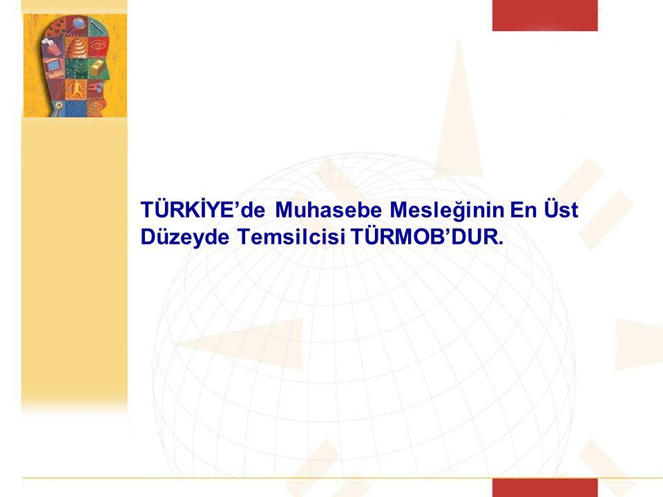 TÜRKİYE'de Muhasebe Mesleğinin En Üst Düzeyde Temsilcisi TÜRMOB'DUR.