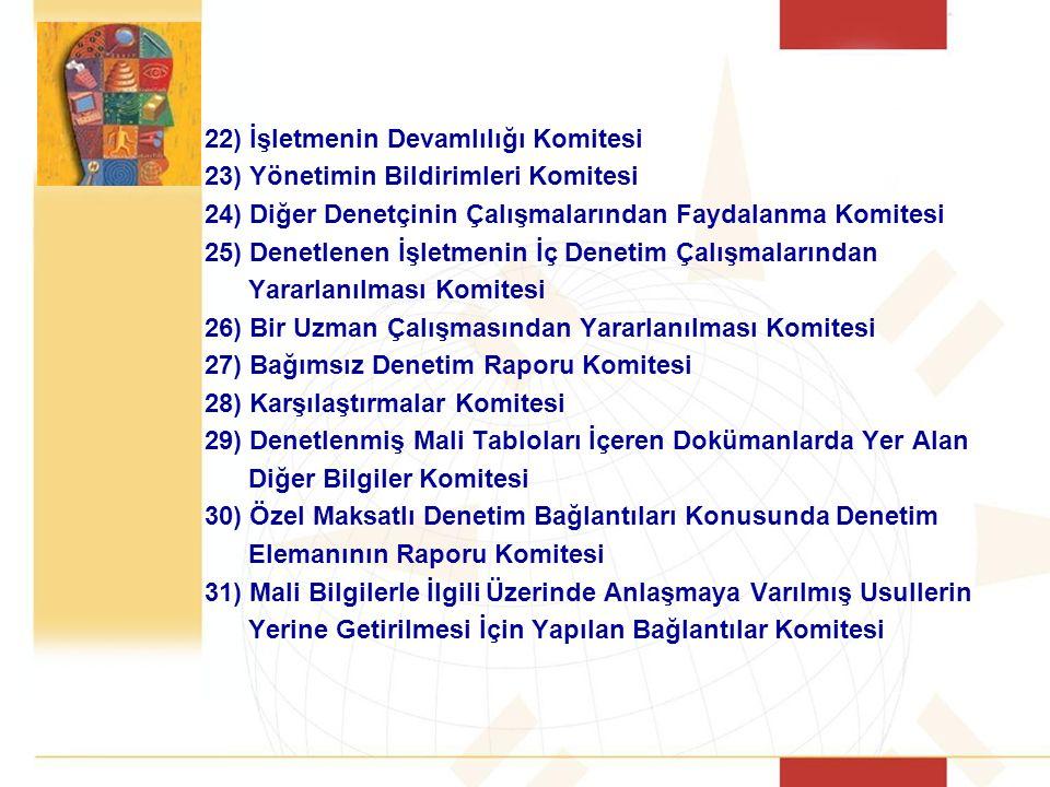 22) İşletmenin Devamlılığı Komitesi 23) Yönetimin Bildirimleri Komitesi 24) Diğer Denetçinin Çalışmalarından Faydalanma Komitesi 25) Denetlenen İşletm