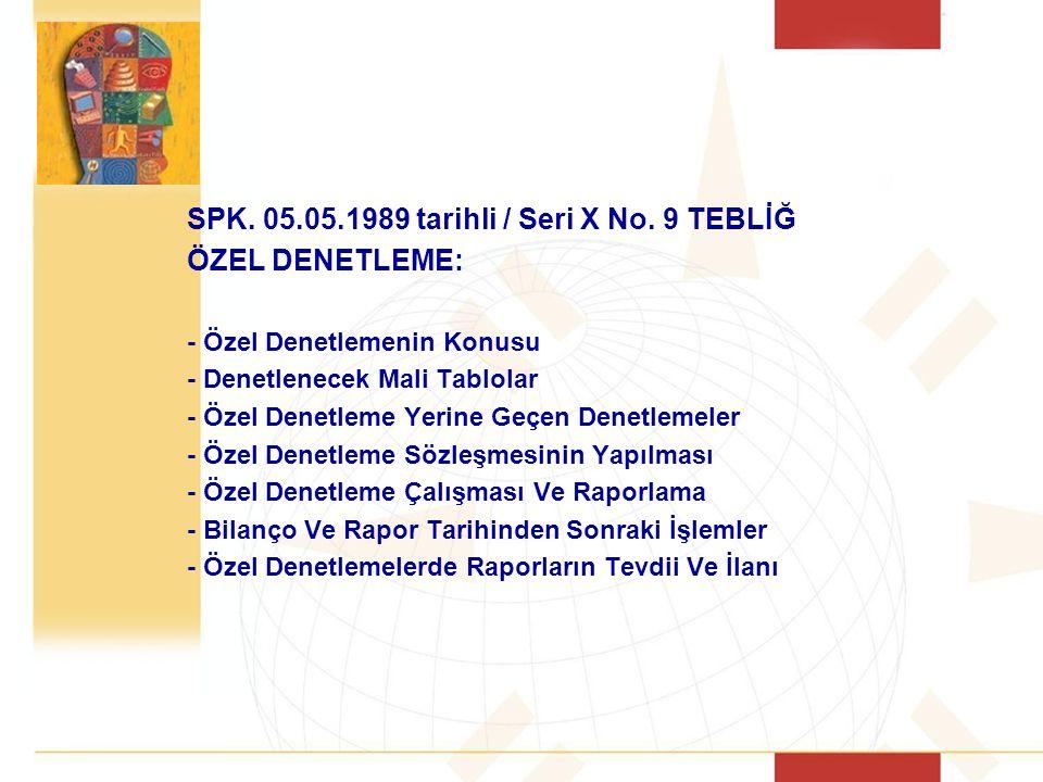 SPK.05.05.1989 tarihli / Seri X No.