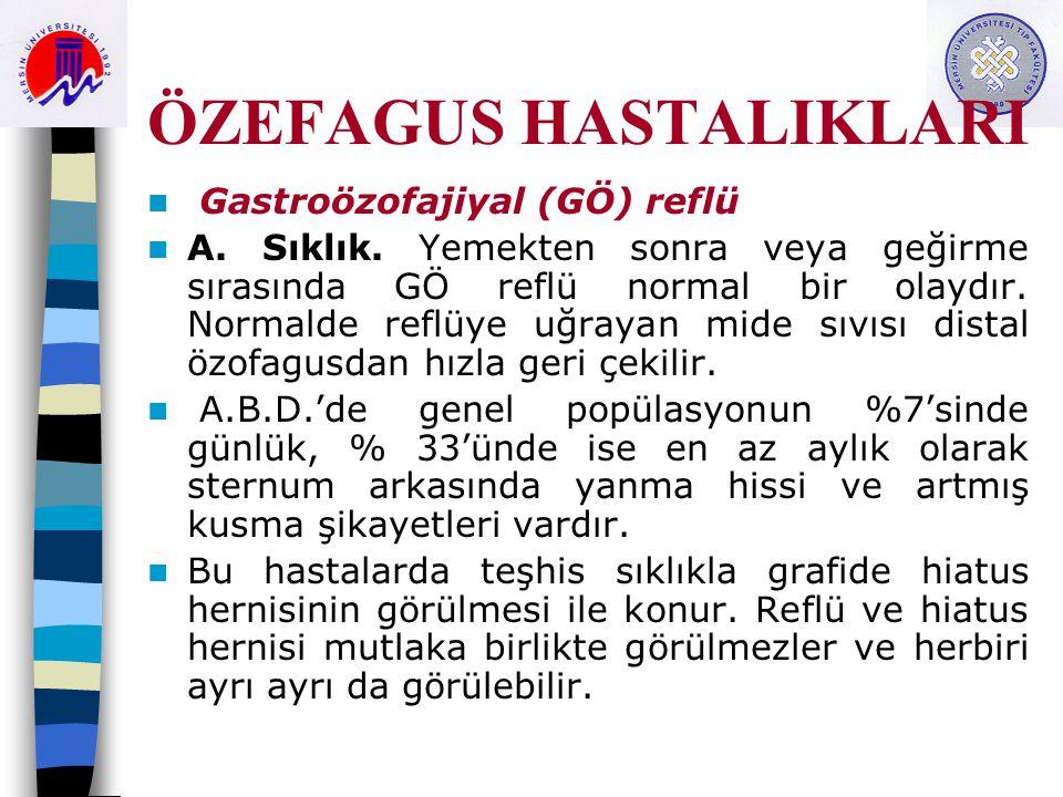 ÖZEFAGUS HASTALIKLARI Gastroözofajiyal (GÖ) reflü A.