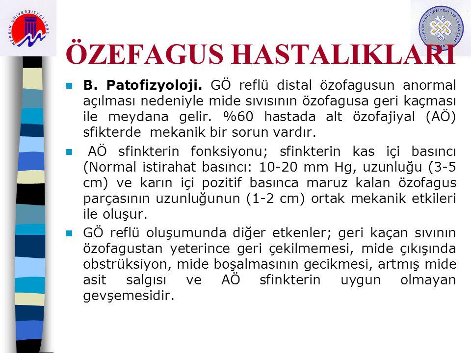 ÖZEFAGUS HASTALIKLARI B. Patofizyoloji. GÖ reflü distal özofagusun anormal açılması nedeniyle mide sıvısının özofagusa geri kaçması ile meydana gelir.
