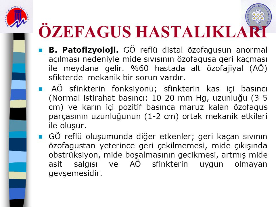 ÖZEFAGUS HASTALIKLARI B.Patofizyoloji.