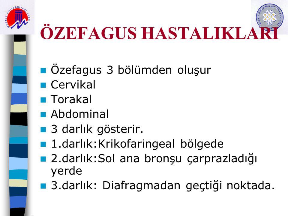 ÖZEFAGUS HASTALIKLARI Özefagus 3 bölümden oluşur Cervikal Torakal Abdominal 3 darlık gösterir. 1.darlık:Krikofaringeal bölgede 2.darlık:Sol ana bronşu