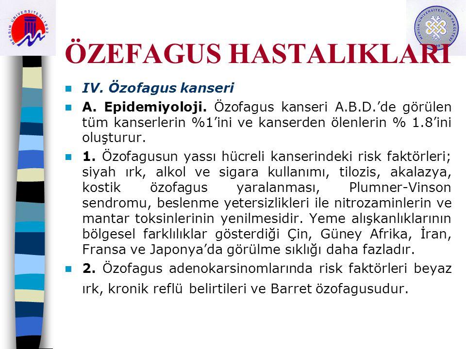 ÖZEFAGUS HASTALIKLARI IV.Özofagus kanseri A. Epidemiyoloji.