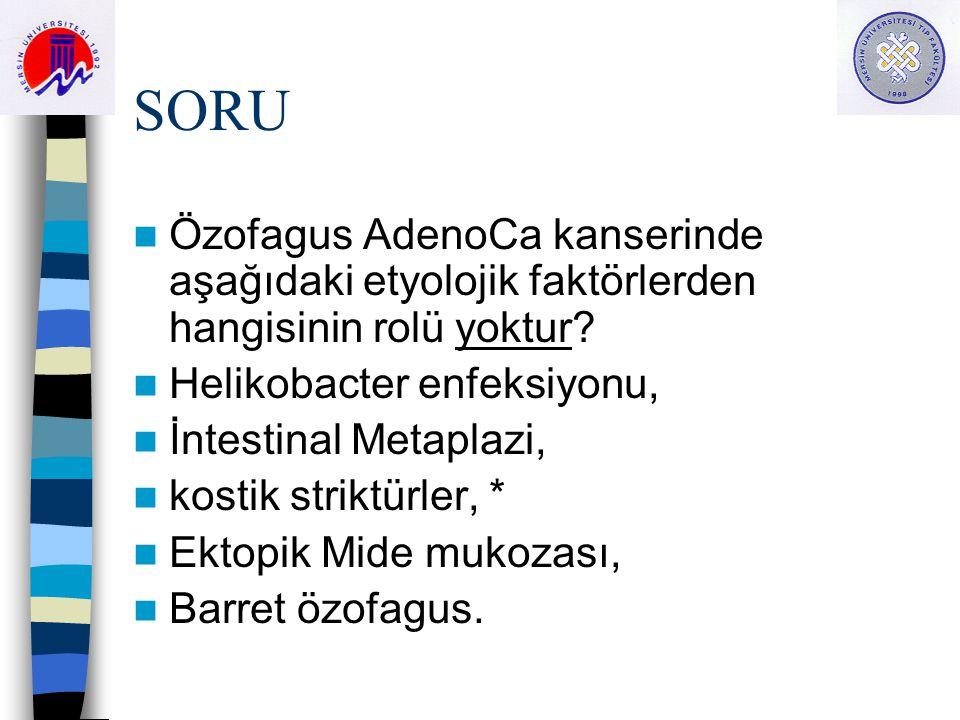 SORU Özofagus AdenoCa kanserinde aşağıdaki etyolojik faktörlerden hangisinin rolü yoktur? Helikobacter enfeksiyonu, İntestinal Metaplazi, kostik strik