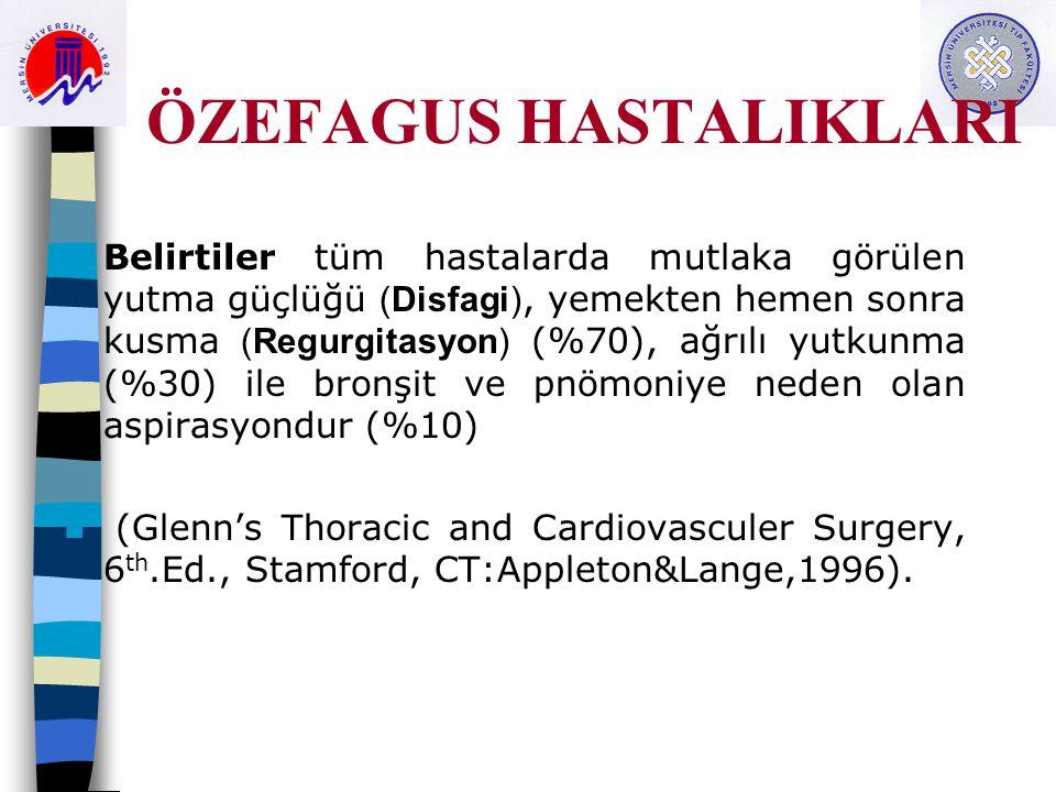 ÖZEFAGUS HASTALIKLARI Belirtiler tüm hastalarda mutlaka görülen yutma güçlüğü (Disfagi), yemekten hemen sonra kusma (Regurgitasyon) (%70), ağrılı yutkunma (%30) ile bronşit ve pnömoniye neden olan aspirasyondur (%10) (Glenn's Thoracic and Cardiovasculer Surgery, 6 th.Ed., Stamford, CT:Appleton&Lange,1996).