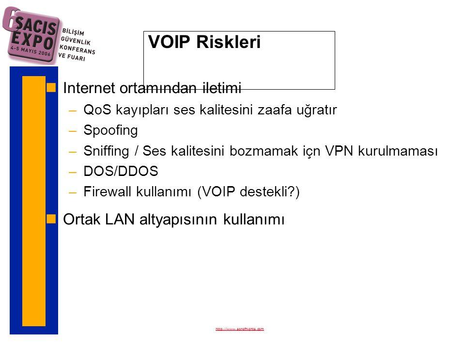 VOIP Riskleri nInternet ortamından iletimi –QoS kayıpları ses kalitesini zaafa uğratır –Spoofing –Sniffing / Ses kalitesini bozmamak içn VPN kurulmaması –DOS/DDOS –Firewall kullanımı (VOIP destekli ) nOrtak LAN altyapısının kullanımı http://www.sonofnights.com