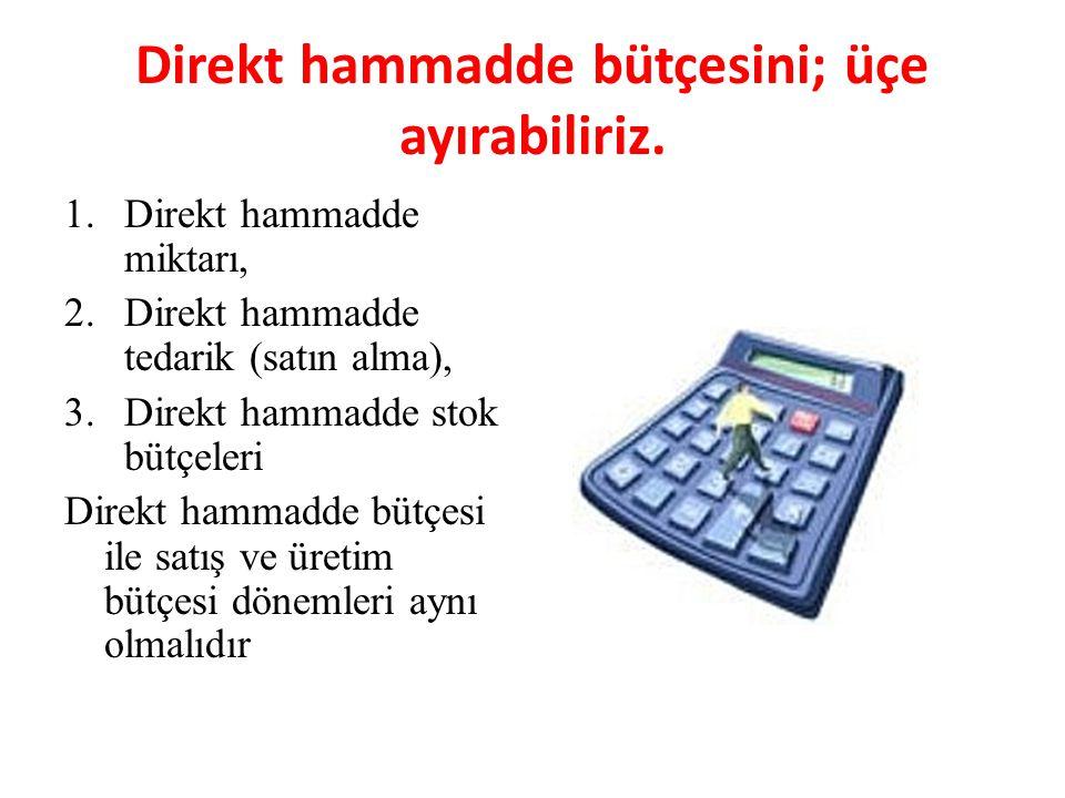 Direkt hammadde bütçesini; üçe ayırabiliriz. 1.Direkt hammadde miktarı, 2.Direkt hammadde tedarik (satın alma), 3.Direkt hammadde stok bütçeleri Direk