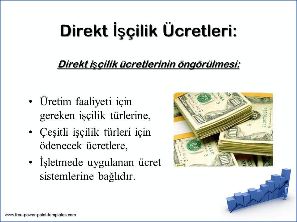 Direkt İş çilik Ücretleri: Direkt i ş çilik ücretlerinin öngörülmesi: Üretim faaliyeti için gereken işçilik türlerine, Çeşitli işçilik türleri için öd