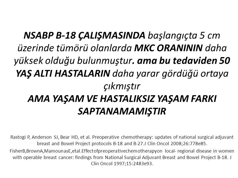 NSABP B-18 ÇALIŞMASINDA başlangıçta 5 cm üzerinde tümörü olanlarda MKC ORANININ daha yüksek olduğu bulunmuştur. ama bu tedaviden 50 YAŞ ALTI HASTALARI